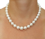 10-13mm White South Sea Pearl Necklace - AAAA Quality - Model Image
