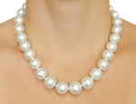 13-15mm White South Sea Pearl Necklace - AAAA Quality - Model Image