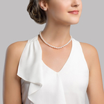 6.0-9.0mm Japanese Akoya White Pearl Necklace - Model Image