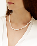 7.0-7.5mm Japanese Akoya White Pearl Necklace- AA+ Quality - Model Image