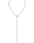8.0-8.5mm Japanese Akoya White Pearl & Diamond Y-Shape Adjustable Necklace