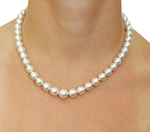 8-10mm White South Sea Pearl Necklace - AAAA Quality - Model Image