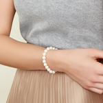 8-9mm White Freshwater Pearl Bracelet - AAA Quality - Model Image