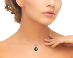 Tahitian South Sea Pearl & Diamond V-Shape Pendant - Model Image