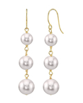 White Akoya Pearl Triple Drop Earrings - Secondary Image