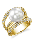 South Sea Pearl & Diamond Eternity Ring - Model Image