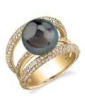 Tahitian South Sea Pearl & Diamond Eternity Ring - Model Image